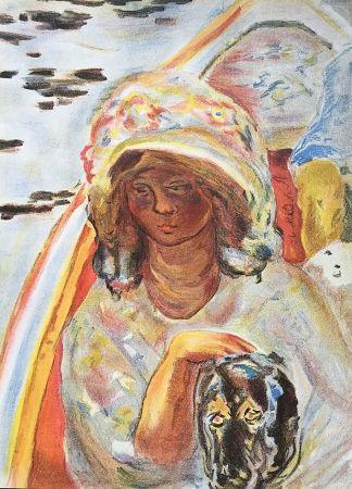 リトグラフ Bonnard - Femme au chien dans une barque