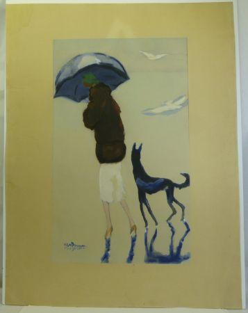 ステンシル Van Dongen - Femme au chien marchant sur la plage.