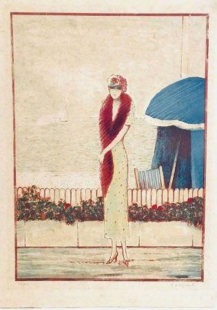 リトグラフ Cassigneul  - Femme au Fox