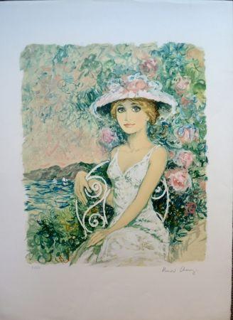 リトグラフ Charoy - Femme au Jardin