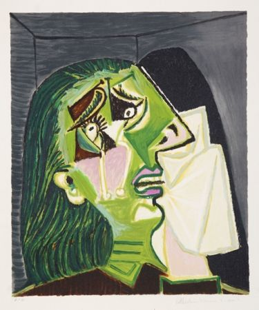 リトグラフ Picasso - Femme au Mouchoir