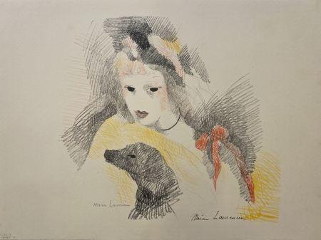 リトグラフ Laurencin - Femme avec chien
