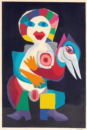 リトグラフ Appel - Femme avec Oiseau