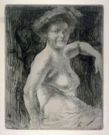 彫版 Besnard - Femme blonde à sa toilette
