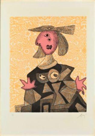 エッチングと アクチアント Baj - Femme d'après Picasso