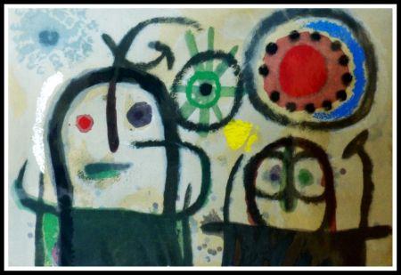 ステンシル Miró (After) - FEMME EN PRIERE DEVANT LE SOLEIL