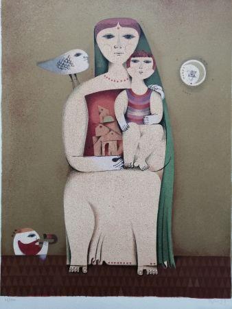 リトグラフ Briss - Femme et enfant