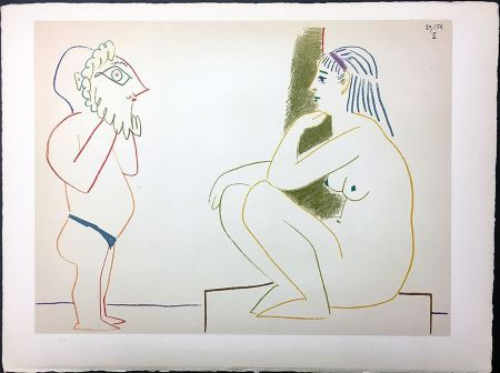 リトグラフ Picasso - Femme et Satyre (de La Comédie Humaine - Verve 29-30. 1954).