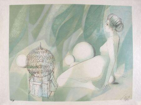 リトグラフ Valadie - Femme Nue Assise
