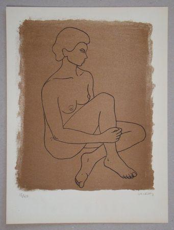 リトグラフ Vacossin - Femme nue assise