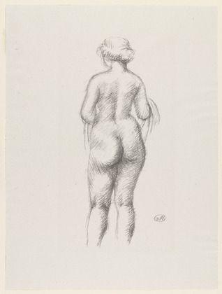 リトグラフ Maillol - Femme nue de dos tenant une echarpe