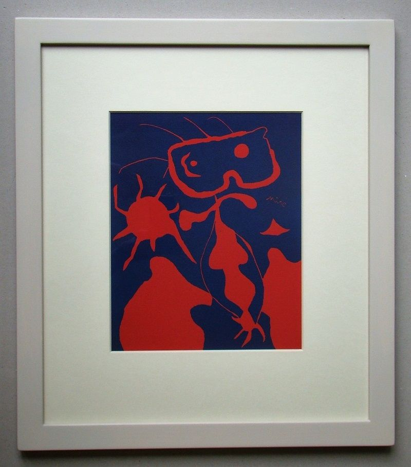リノリウム彫版 Miró - Femme pour XXe Siècle