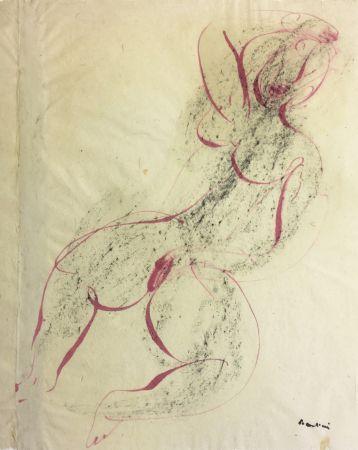 モノタイプ Fautrier - Femme se caressant. Dessin original au pinceau (1942)