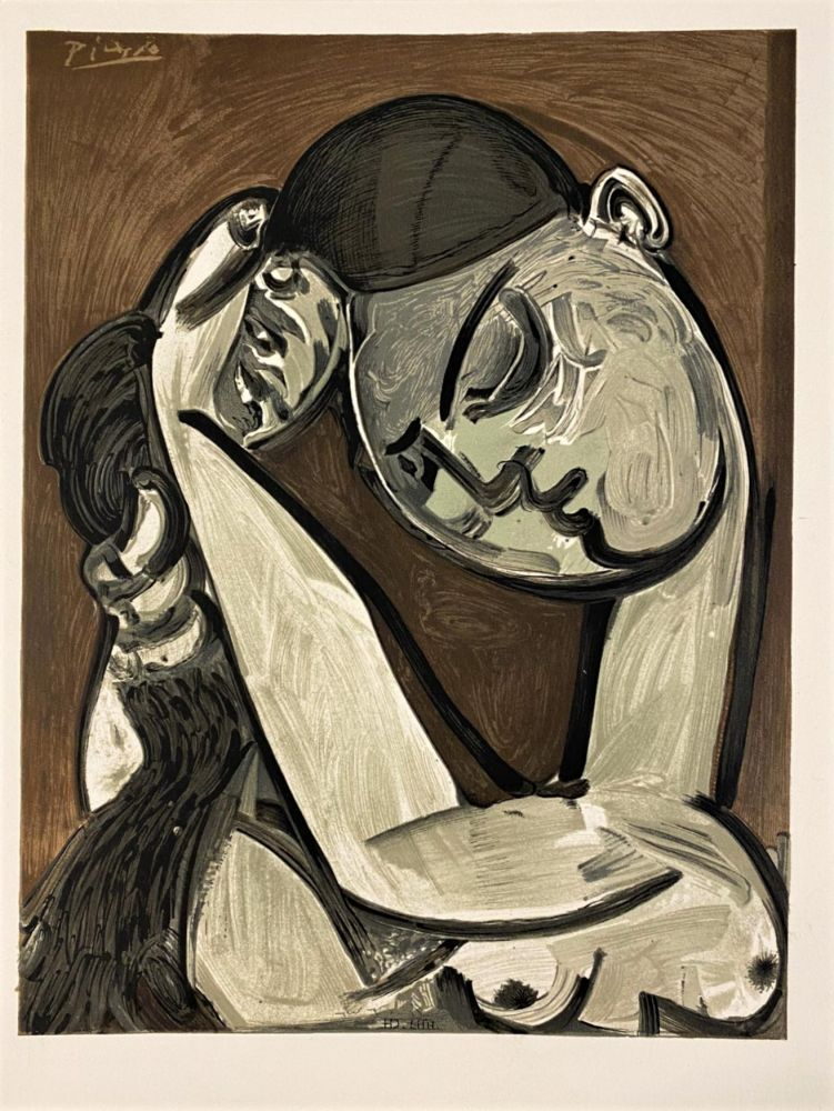 リトグラフ Picasso - Femme se coiffant 1955