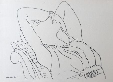 リトグラフ Matisse - Femme sur canapé