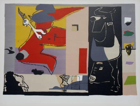 リトグラフ Le Corbusier - Femme Unicorne et Taureau Noir