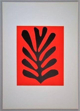 リトグラフ Matisse - Feuille Sur Fond Rouge