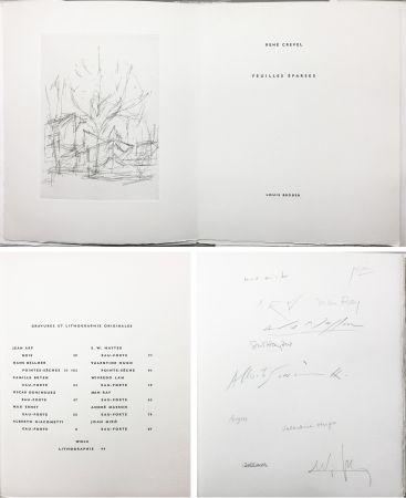 挿絵入り本 Giacometti - FEUILLES ÉPARSES (Avec 14 gravures de Arp, Miro, Ernst, Man Ray, Masson, etc.) 1965.