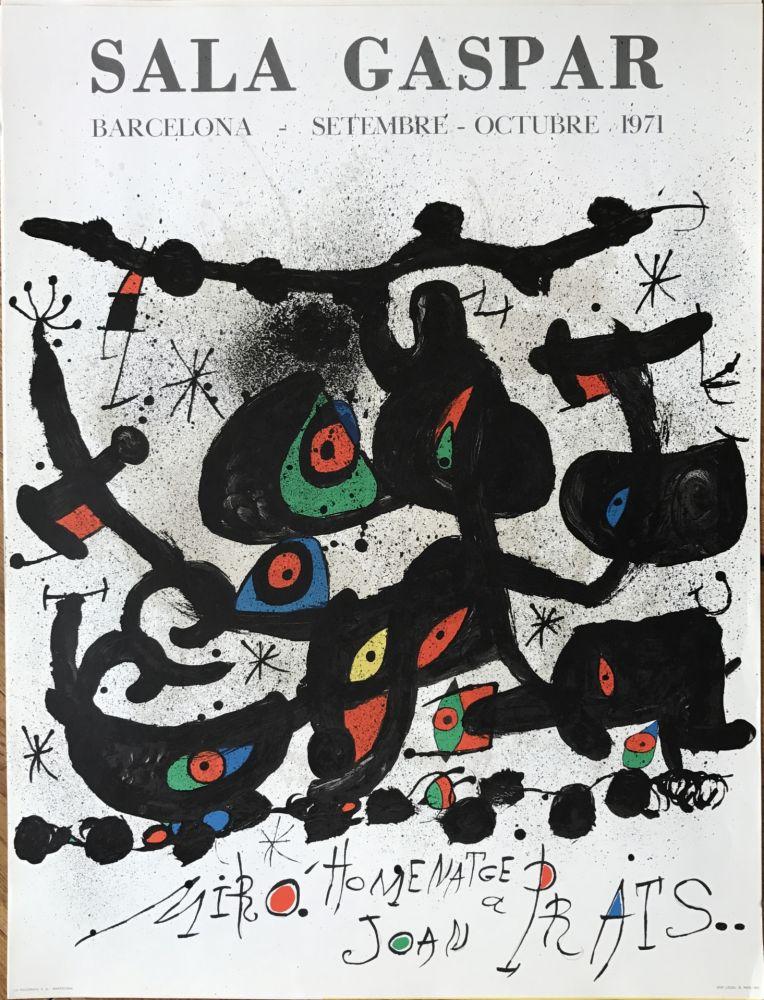 """リトグラフ Miró - Ffiche pour l' exposition """"Homenatge a Joan Prats"""". Sala Gaspar, Barcelona."""