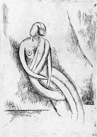 エッチング Carra - Figura femminile