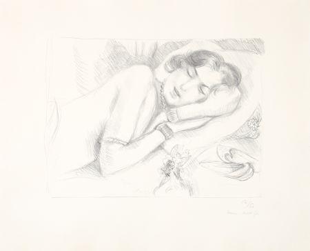 リトグラフ Matisse - Figure endormie aux babouches
