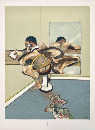 リトグラフ Bacon - Figure writing reflected in a mirror
