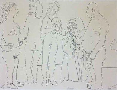 リトグラフ Picasso - Figures and dove