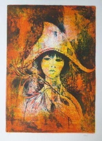 リトグラフ Lebadang - Fille au chapeau