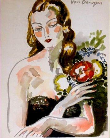 リトグラフ Van Dongen - Fille au Fleurs