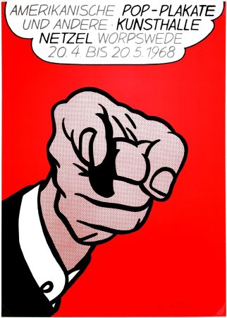 シルクスクリーン Lichtenstein - Finger pointing (Hey You!)