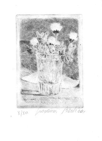 エッチング Barbisan - Fiori nel bicchiere