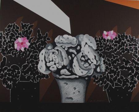 シルクスクリーン Pozzati - Fiori neri