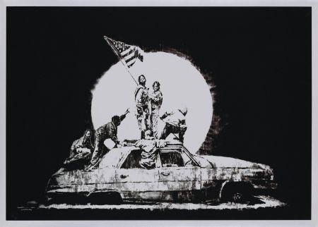 シルクスクリーン Banksy - FLAG (SILVER)