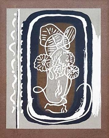 木版 Braque - Fleurs blanches