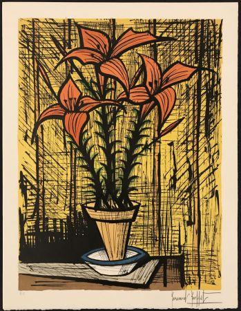 リトグラフ Buffet - Fleurs oranges dans un pot