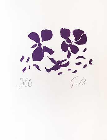 木版 Braque - Fleurs Violettes