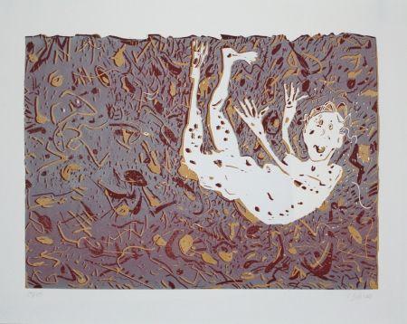リノリウム彫版 Dahms - Fliegender / Flying Man