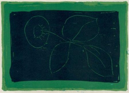 リトグラフ Hernandez Pijuan - Flor sobre negre / Flower on Black