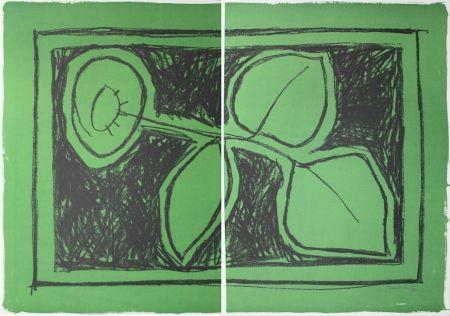 リトグラフ Hernandez Pijuan - Flor Sobre Verd / Flower On Green