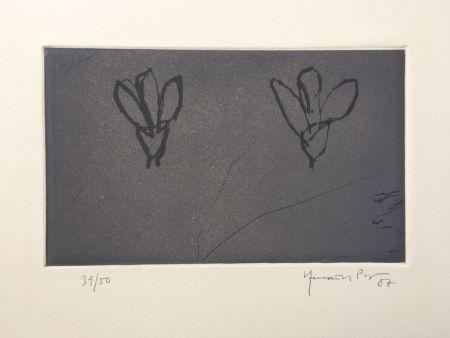 彫版 Hernandez Pijuan - Flores sobre gris