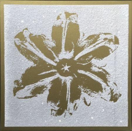 シルクスクリーン Robierb - Flower Power (Gold on White)