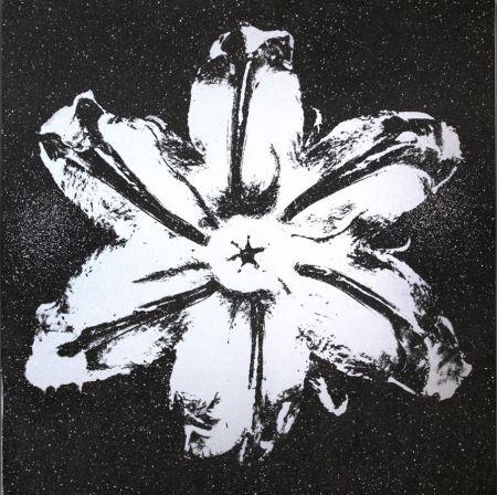 シルクスクリーン Robierb - Flower Power (Silver on Black)