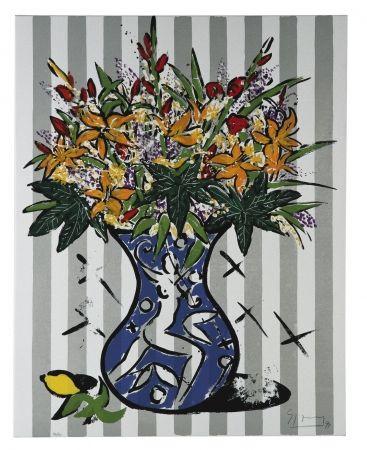 シルクスクリーン Szczesny - Flowers on Stripes