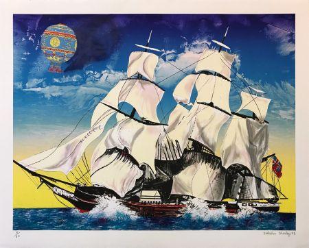 リトグラフ Morley - FLYING CLOUD WITH MONTGOLFIERE BALLOON