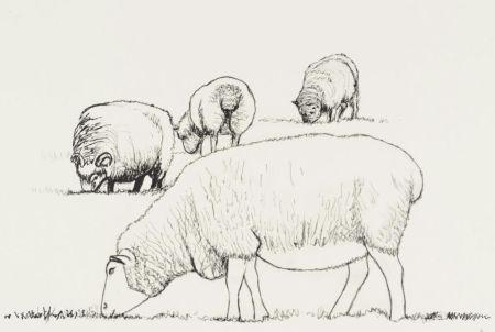 リトグラフ Moore - Four Sheep Grazing