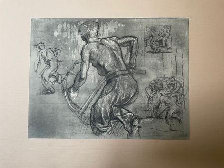 リトグラフ Brangwyn   - Frank Brangwyn - Limited Edition Lithograph entitled ' Le scieur'