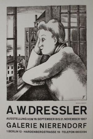 リトグラフ Dressler - Frau am Fenster