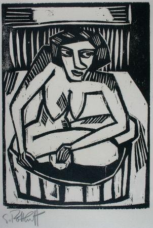 木版 Schmidt-Rottluff - Frau in der Wanne (Woman in Bath)