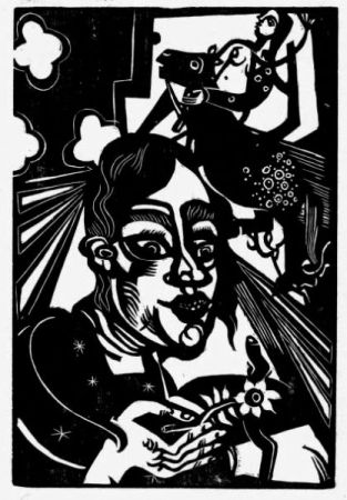 木版 Campendonk - Frau mit Blume / Woman with Flower