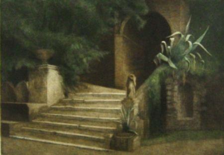 メゾチント彫法 Ilsted - From the Garden of Villa d'Este